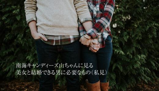南海キャンディーズ山ちゃんに見る美女と結婚できる男に必要なもの(私見)